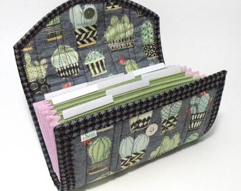 Cash / Coupon / Expense / Receipt Organizer - Denim Cactus - Accordion Stle Multi Use Flexible Use Write Your Own Labels Organiser