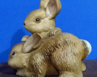 HOMCO--Two Little Playful Brown Bunnies #1455
