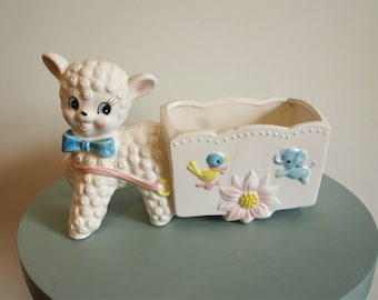 Vintage INARCO Ceramic Planter of a Sheep Pulling a Cart No. E-3030