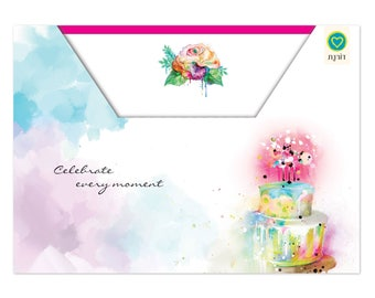 stationery Water Color Floral Note Cards, Greeting card set, 10 cards, 10 envelopes,  Birthday cards, floral, cards box, birthday cake
