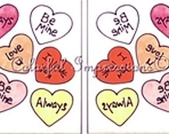 Candy Hearts Window Cling Set