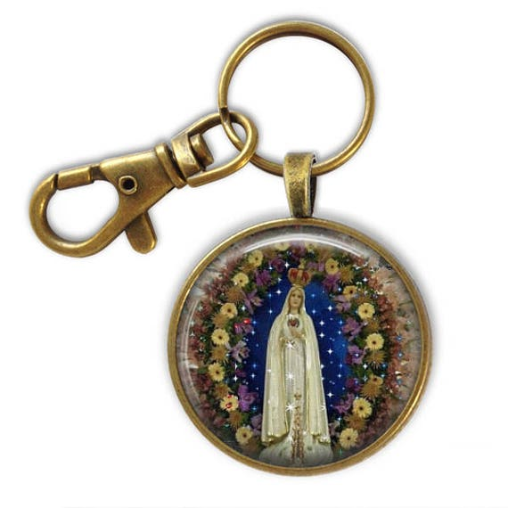 Catholic Keychain Gift - 38mm , Family Gift, Our Lady of Fatima Key chain with swivel lobster clip