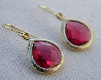 Ruby Glass Earrings - Dangle Earrings - Drop Earrings - Bridesmaid Earrings - Wedding Jewelry - Gift For Her