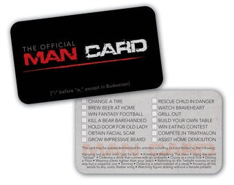 INSTANT DOWNLOAD - PRINTABLE Official Man Card - Hilarious gift for that Special Guy in your life
