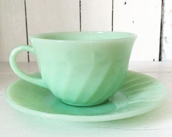 RESERVED - Fire King Jadite Jadeite Swirl Cup and Saucer