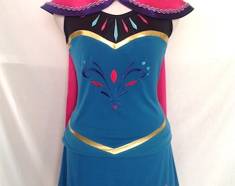 Elsa Coronation inspired complete running outfit with cape