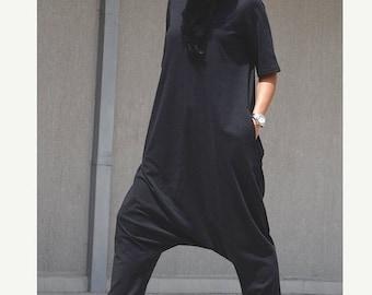 Black jumpsuit, one piece romper, cotton jumpsuit, Gothic clothing, summer jumpsuit, black overall, festival clothing, plus size jumpsuit