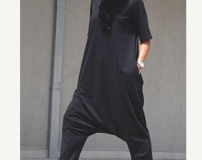 Featured listing image: Black jumpsuit, one piece romper, cotton jumpsuit, Gothic clothing, summer jumpsuit, black overall, festival clothing, plus size jumpsuit