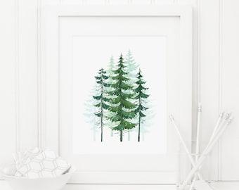 Conifer Trees Printable Conifer Tree Print Evergreen Trees Pine Trees Woodland Nursery Decor Camping Decor Adventure Wall Art Tree Wall Art