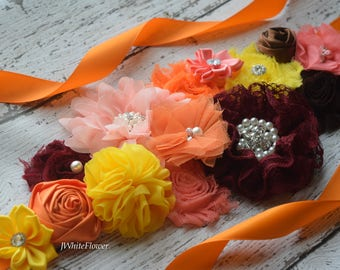 Fall autumn Sash , flower Belt, maternity sash, wedding sash, flower girl sash, maternity sash belt