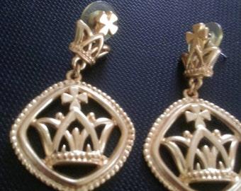 Vintage Goldtone Mardi Gras Crown Earrings