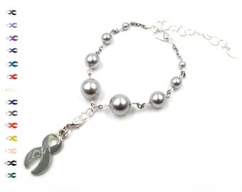 Hope - Kidney Cancer Ribbon - Gray Pearl - Cancer Ribbon - With Swarovski Pearls