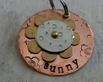 Flower Power Pet ID -  Vintage Pet Tag - Dog tag  for dog - cat tag for cat - cat lover - pet supplies - retro style pet id  - pet id
