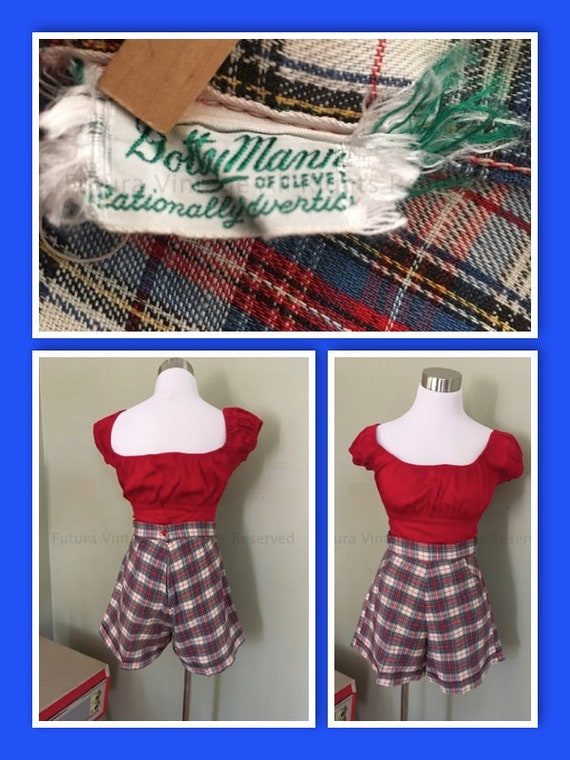 """Early 1950's Dotty Mann of Cleveland High Waist Red White and Blue Plaid Cuffed Shorts with Front Pockets S 27""""W"""