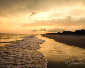 Oak Island NC Sunset - Print, Canvas Gallery Wrapped Print