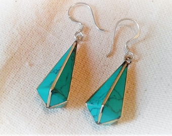 Ethnic turquoise earrings drop Nepal Tibet Himalayas