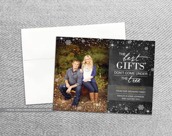 Christmas Card Pregnancy Announcement, Chalkboard, Best Gifts Donu0027t Come  Under The Tree