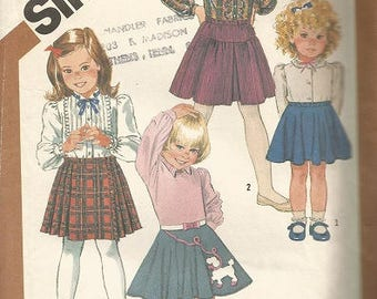 Vintage Simplicity 6133 Girls Skirt Pattern SZ 5