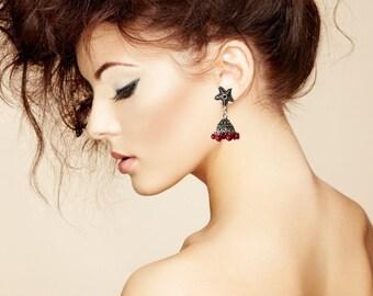 Star earrings-TRIBAL SILVER Jhumka Earrings,red Silver Jhumkas,Bohemian Kucchi Earrings,Silver dome Indian Jewellery Taneesi Jewelry