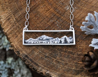 Mountain Range Bar Necklace - Sterling Silver - Adventure Wanderlust Jewelry - Colorado Landscape - Rectangle - Everyday Nature Necklace