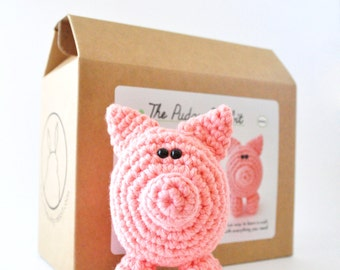 Pig Crochet Kit, DIY Craft Kit, Learn to Crochet
