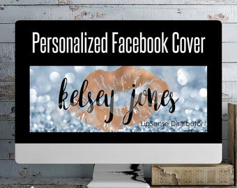 LipSense Personalized Blue Bokeh Facebook Cover Photo| Lipsense Distributor Facebook Cover| Facebook Cover Photo ***DIGITAL FILE ONLY***
