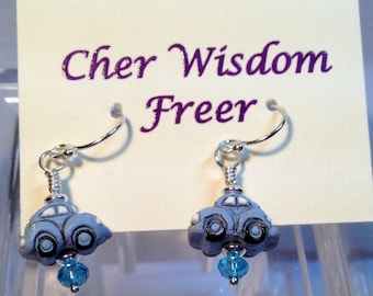 Baby Blue Volkswagen Beetle Earrings