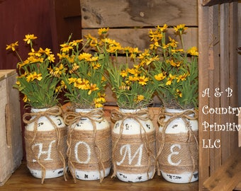 HOME Mason Jar Set with Flowers, Set of 4 quart size Mason jars, Shabby Chic Decor, Rustic Home Decor, Farmhouse Decor