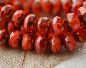 Fiery Pebbles, Rondelle Beads, Czech Beads, N2412