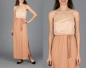 70s Peach Grecian Dress