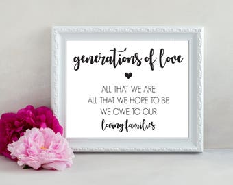Generations of Love Sign, All That We Are and All That We Hope To Be Printable Sign, Wedding Sign, Wedding Print, Thank You Sign, Wedding