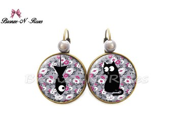 Flower cat earrings jewelry cabochon fancy gift sleepers liberty