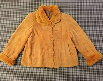 1960's, reversible, fur, swing coat, in apricot, Women's size Medium/Large