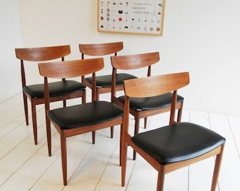 Vintage Mid Century Dining Chairs x 5 - Danish Design