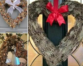 Pheasant/Gamebird Feather Wreath – 'CHELSEA' - (40cm heart) Wreath for front door – wedding décor – heart wreath - Wedding Wreath