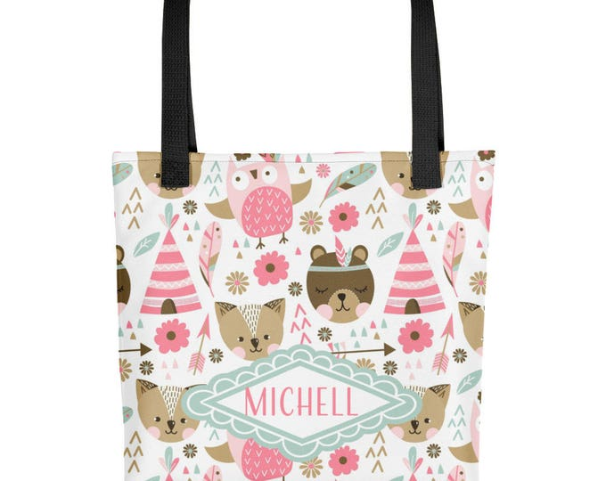 Personalized Name Woodland Animals Pattern Tote bag | Cute Girly Tote Bag with Custom Name | Owl, Flowers, Pink Pattern All Over Print Tote