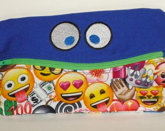 SMILING FUNNY Round EYES Pencil Case with Emojis 100% cotton fabric nylon zipper closure
