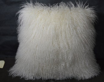 "20"" Mongolian Lamb fur Pillow  Natural White 20x20 Sheepskin Fur"