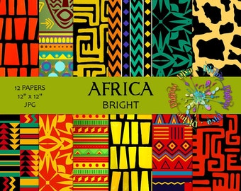 Africa Bright Colors | Digital Paper Pack | Instant Download