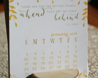 Desk Calendar with Birch Wood Display Stand, Better Things Ahead