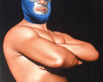 Blue Demon Mexican wrestling black velvet original oil painting hand painted signed lucha libre art 18 by 24 inches