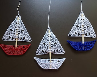 Sailboat Lace Ornaments