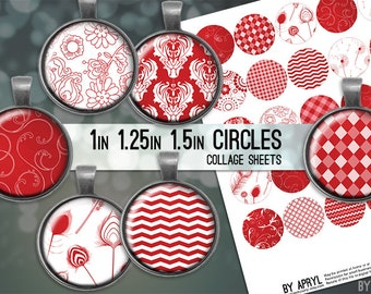 """Apple Red and White Patterns 1 inch 1.25"""" and 1.5"""" Circles Collage Sheet for Glass and Resin Pendants Bottle Caps Digital Download JPG"""