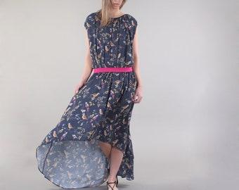 Long Floral Print Dress*Flowing dress*Maxi Dress*Summer Dress*Elegant Maxi Dress*Asymmetric Dress*Sleeveless Dress*Long Crossover Dress
