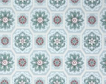 1940s Vintage Wallpaper - Blue Red Green Snowflake Geometric