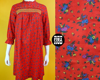Sweet Vintage 60s 70s Red, Blue, Yellow Floral Mini Shift Dress with Smocking