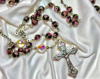 Rosary with Pink Rose Beads
