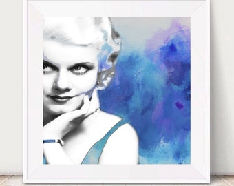 Vintage Hollywood LOVE, Jean harlow Modern Original Art Painting Enhanced Print Giclee Purple Blue Wood DIY Decor Home Wall Hanging Abstract