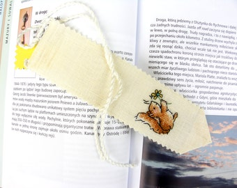 Personalized squirrel bookmark Margaret Sherry cross stitch customized with name on linen evenweave
