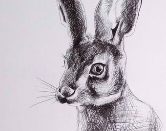 "UNFRAMED ""rabbit"" pigment ink pen art print"